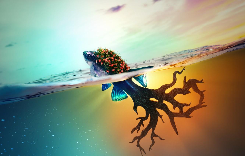 Photo wallpaper sea, tree, fish, fantasy