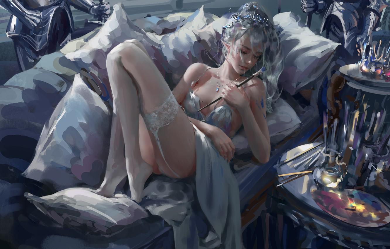 Photo wallpaper colors, girl, fantasy, legs, stockings, elf, digital art, artwork, fantasy art, couch, closed eyes, garter, …
