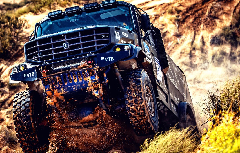 Photo wallpaper Sand, Auto, Sport, Machine, Truck, Race, Master, Russia, Kamaz, Rally, KAMAZ-master, Rally, KAMAZ, The roads, …