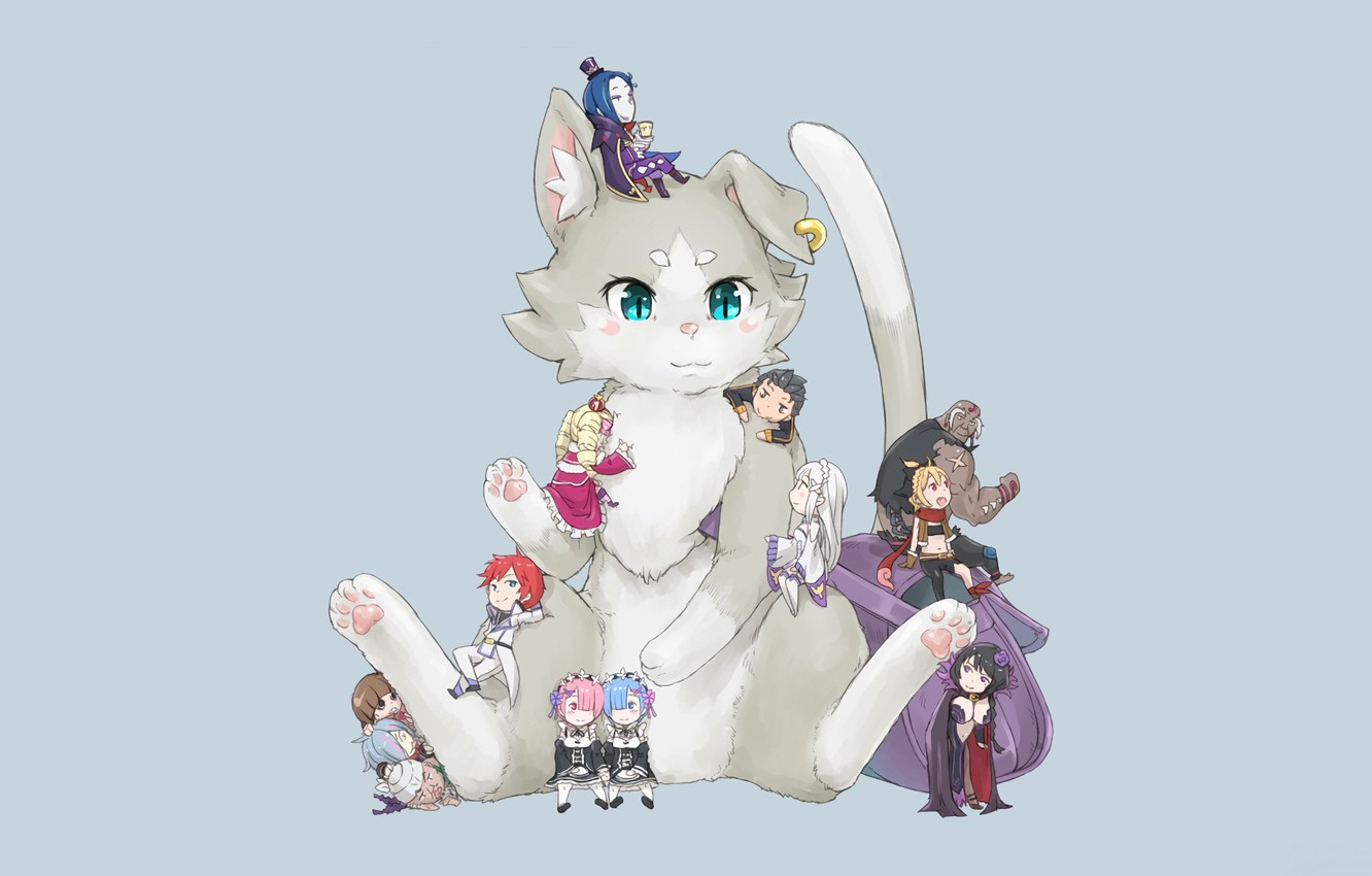 Photo wallpaper cat, being, grey background, Princess, characters, beatrice, chibiki, maids, pak, life from scratch in another …