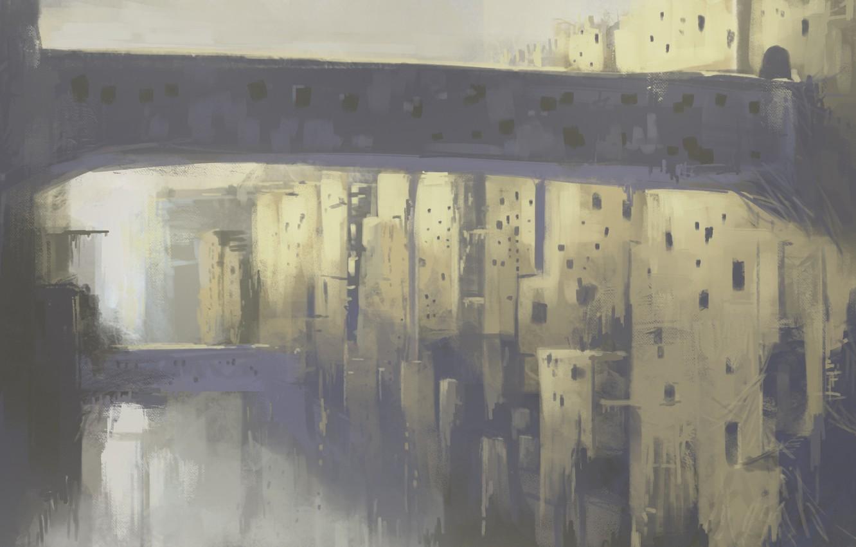 Photo wallpaper fantasy, bridges, каменный город