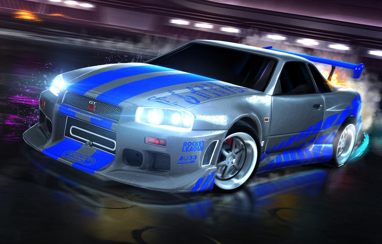 Photo wallpaper Nissan, skyline, Nissan, skaylan, R34, Nissan Skyline GT-R, 1999, Rocket League
