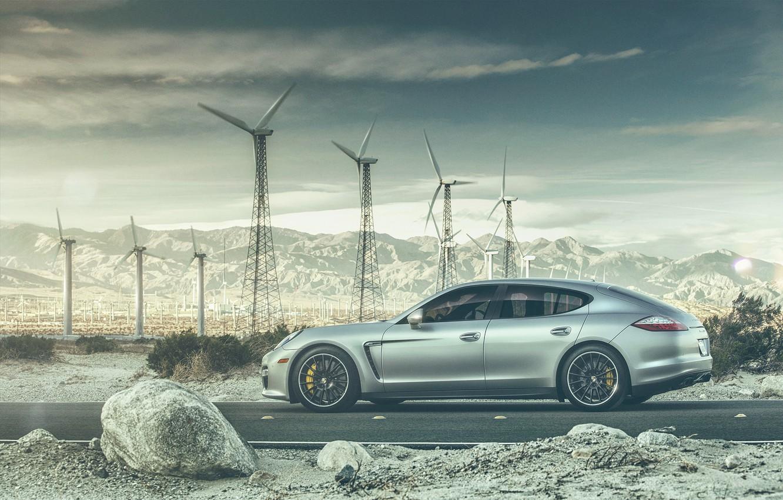 Photo wallpaper road, mountains, transport, Porsche, car