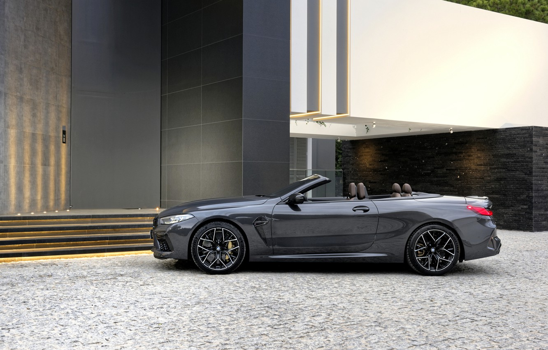 Photo wallpaper BMW, convertible, side, 2019, BMW M8, M8, F91, M8 Competition Convertible, M8 Convertible, the building