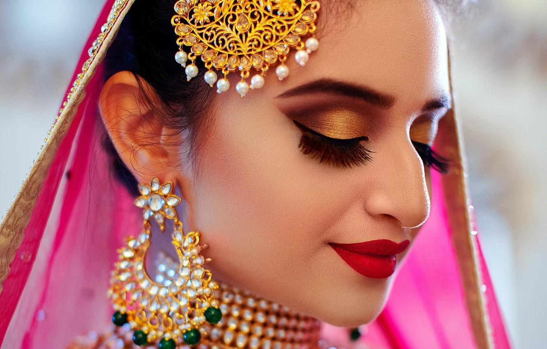 Photo wallpaper girl, eyes, smile, beautiful, model, lips, face, hair, pose, indian, makeup, Jewelery