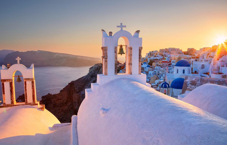Wallpaper Sea Dawn Building Home Santorini Greece