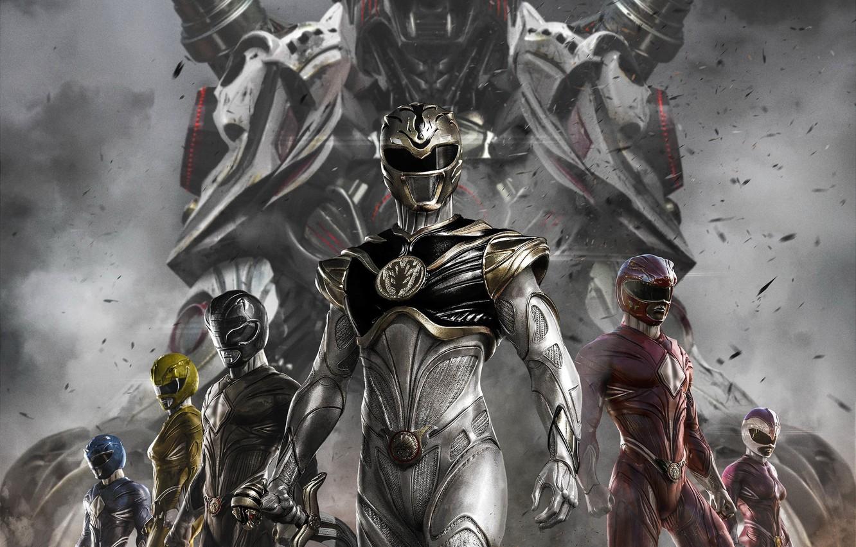 Photo wallpaper white tiger, Power Rangers, red ranger, yellow ranger, zord, white ranger, blue ranger, black ranger, …