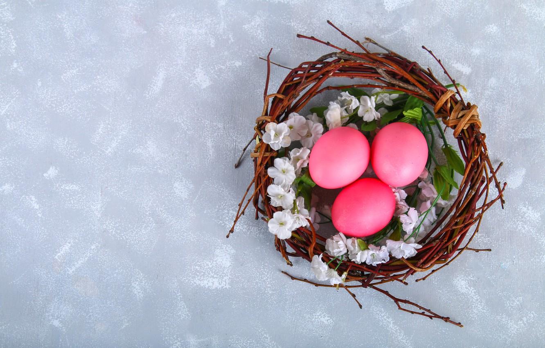 Photo wallpaper flowers, eggs, Easter, basket, flowers, eggs, easter, decoration