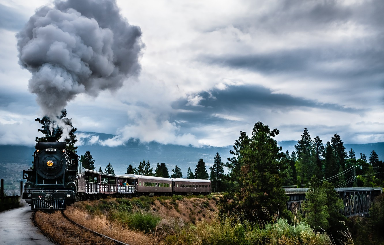 Photo wallpaper Train, Landscapes, Steam, Kettle valley