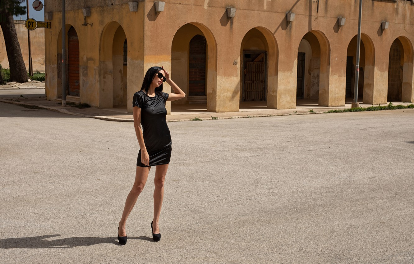 Photo wallpaper sign, tree, street, outside, sexy woman, shadow, sunglasses, beautiful face, old building, outdoors, sexy brunette, …