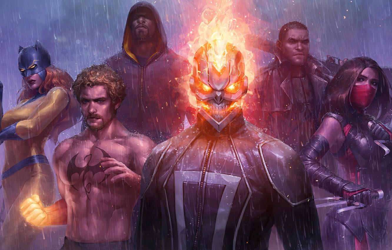 Photo wallpaper Elektra, Luke Cage, Robbie Reyes, Ghost Rider, iron fist, Marvel Future Fight, Marvel: Future Fight