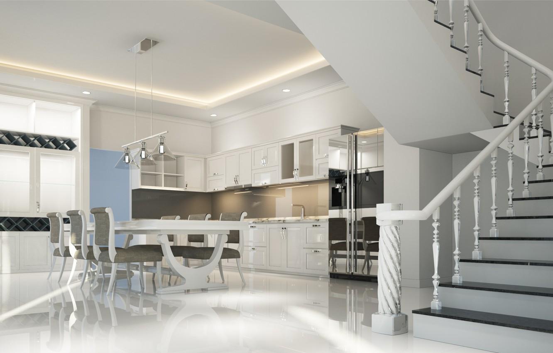 Photo wallpaper design, house, furniture, interior, kitchen, ladder, dining room