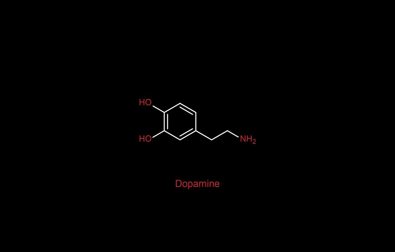 Photo wallpaper minimalism, oxygen, chemistry, black background, science, simple background, nitrogen, chemical structures, hydrogen, Dopamine