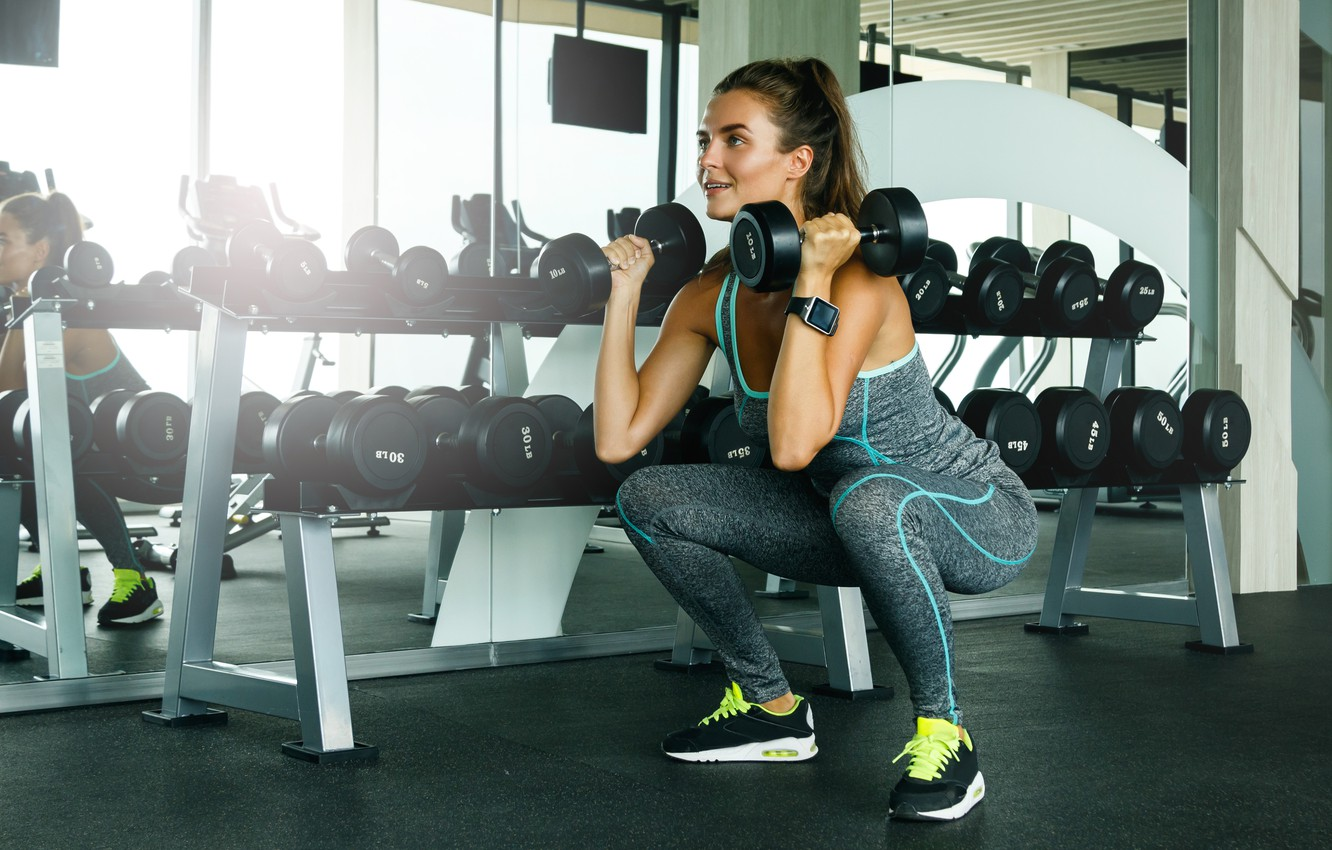 Photo wallpaper Fitness, dumbell, activewear, squat exercises