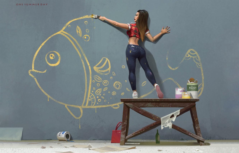 Photo wallpaper Girl, Figure, Paint, Fish, Art, Art, Repair, Nikolai Litvinenko, One summer day, by Nikolai Litvinenko, …