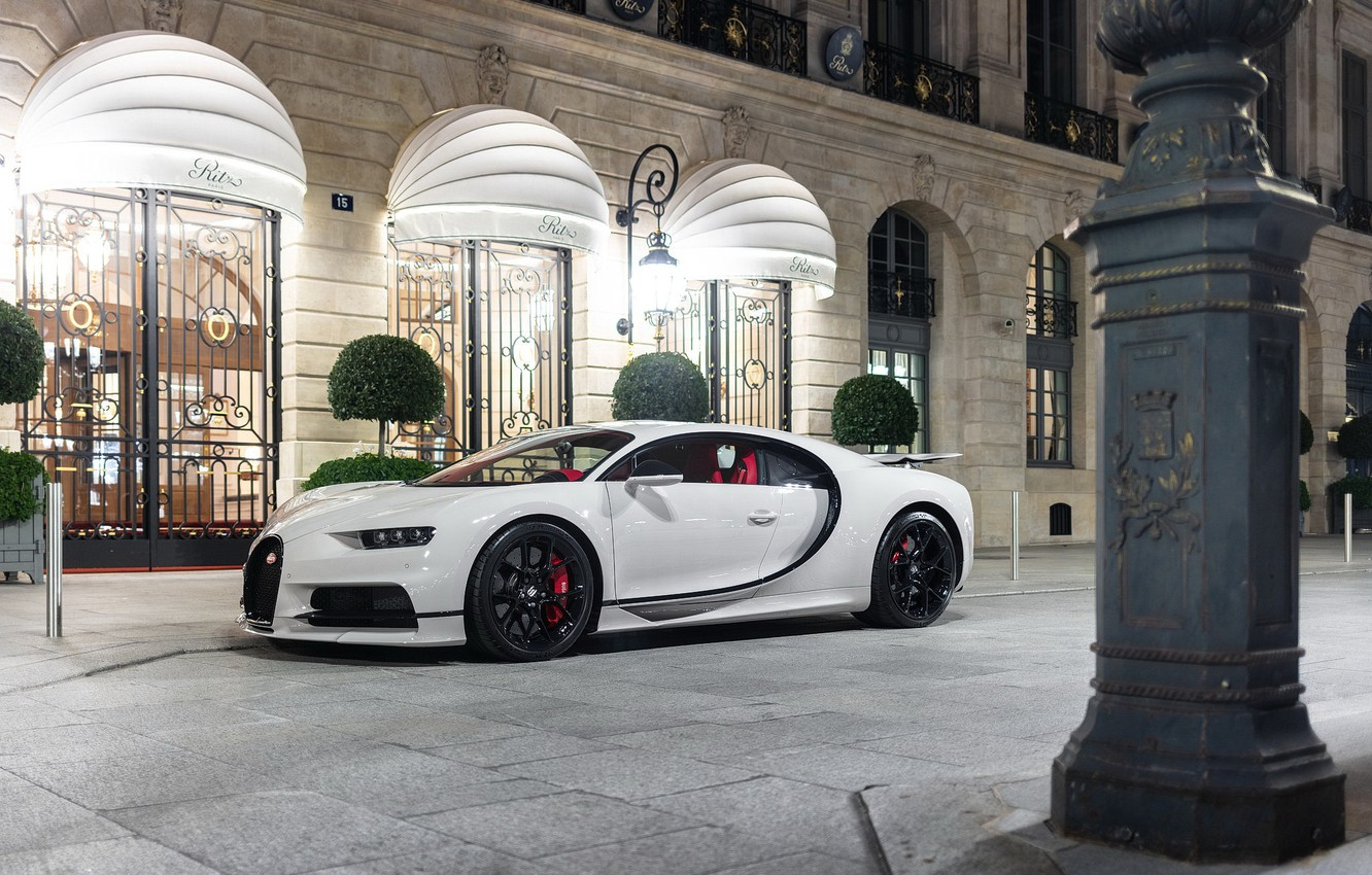 Photo wallpaper bugatti, Night, White, Trees, chiron