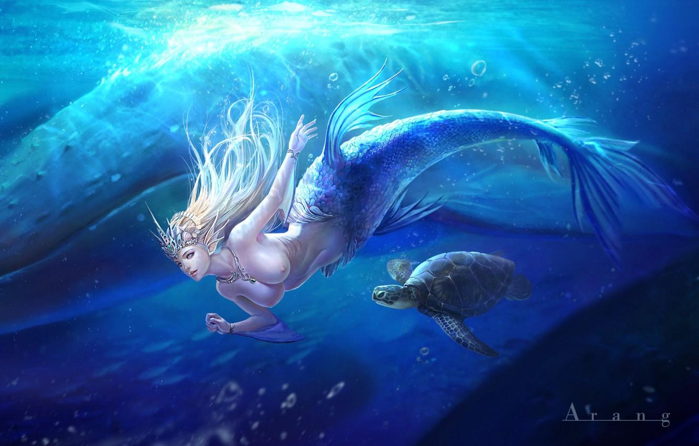 Photo wallpaper the ocean, mermaid, fantasy, art, bug, Mermaid, TaeKwon Kim(A-rang)