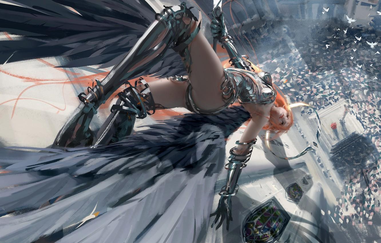 Photo wallpaper girl, fantasy, armor, wings, birds, angel, redhead, digital art, dove, artwork, warrior, fantasy art, falling, …