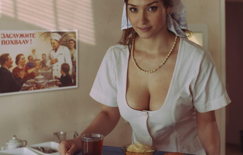 Photo wallpaper look, girl, food, poster, kitchen, beads, brown hair, solitaire, Bathrobe, tray, David Dubnitskiy