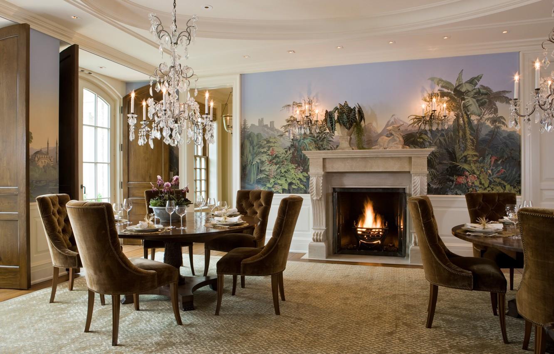 Wallpaper Villa Interior Fireplace Hall Dining Room Georgian