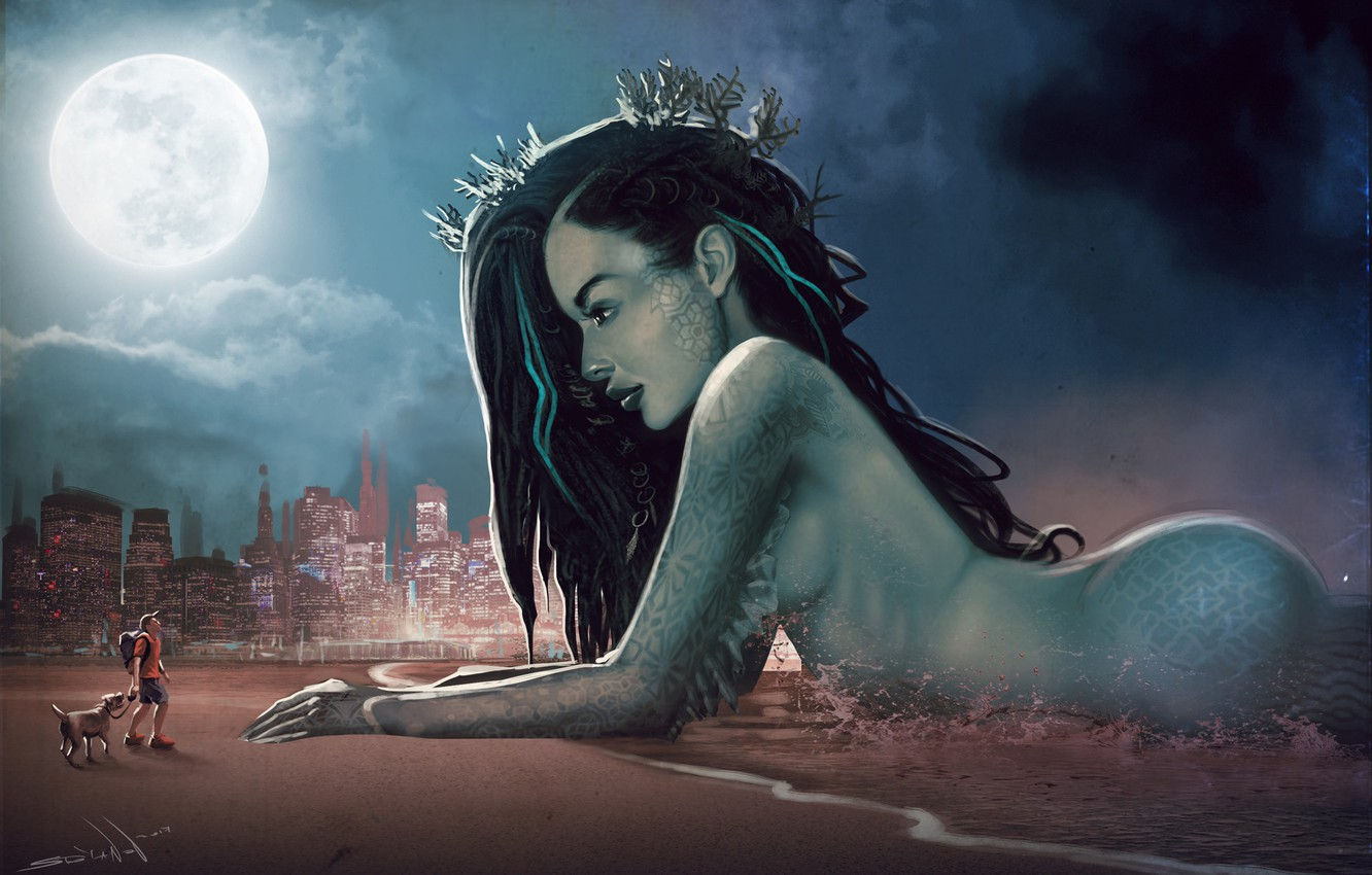 Photo wallpaper Beach, Girl, Night, The city, The moon, People, Mermaid, Large, Beauty, Fiction, Walk, Meeting, by …