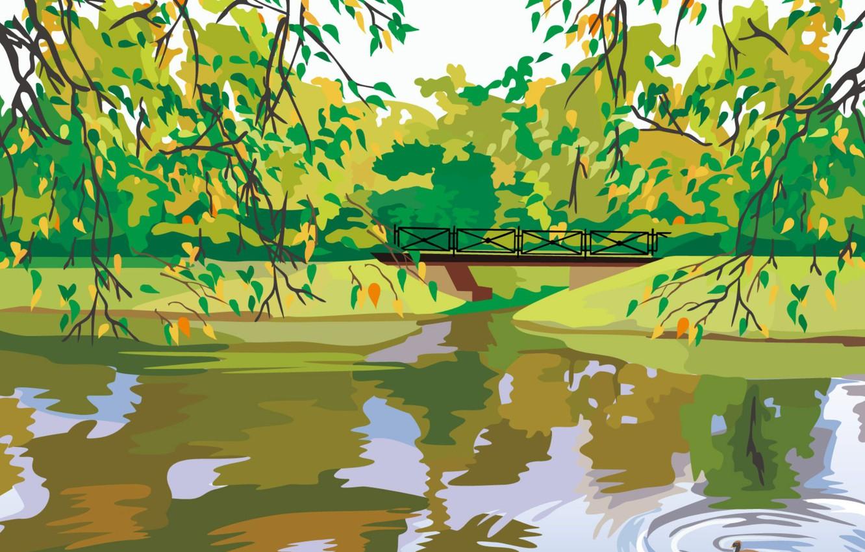 Photo wallpaper lake, branch, vector, the bridge, duck, digital painting
