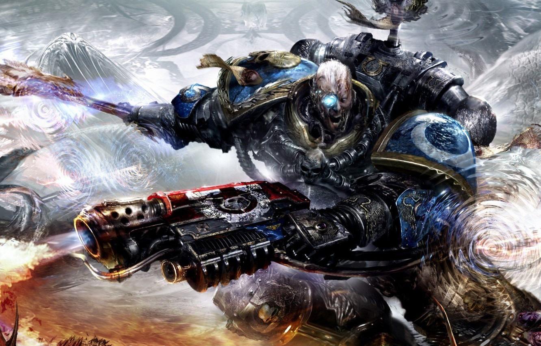Photo wallpaper skull, rage, armor, axe, warhammer 40000, space marine, space Marines, Ultramarines, Warhammer, flamethrower, Paphos
