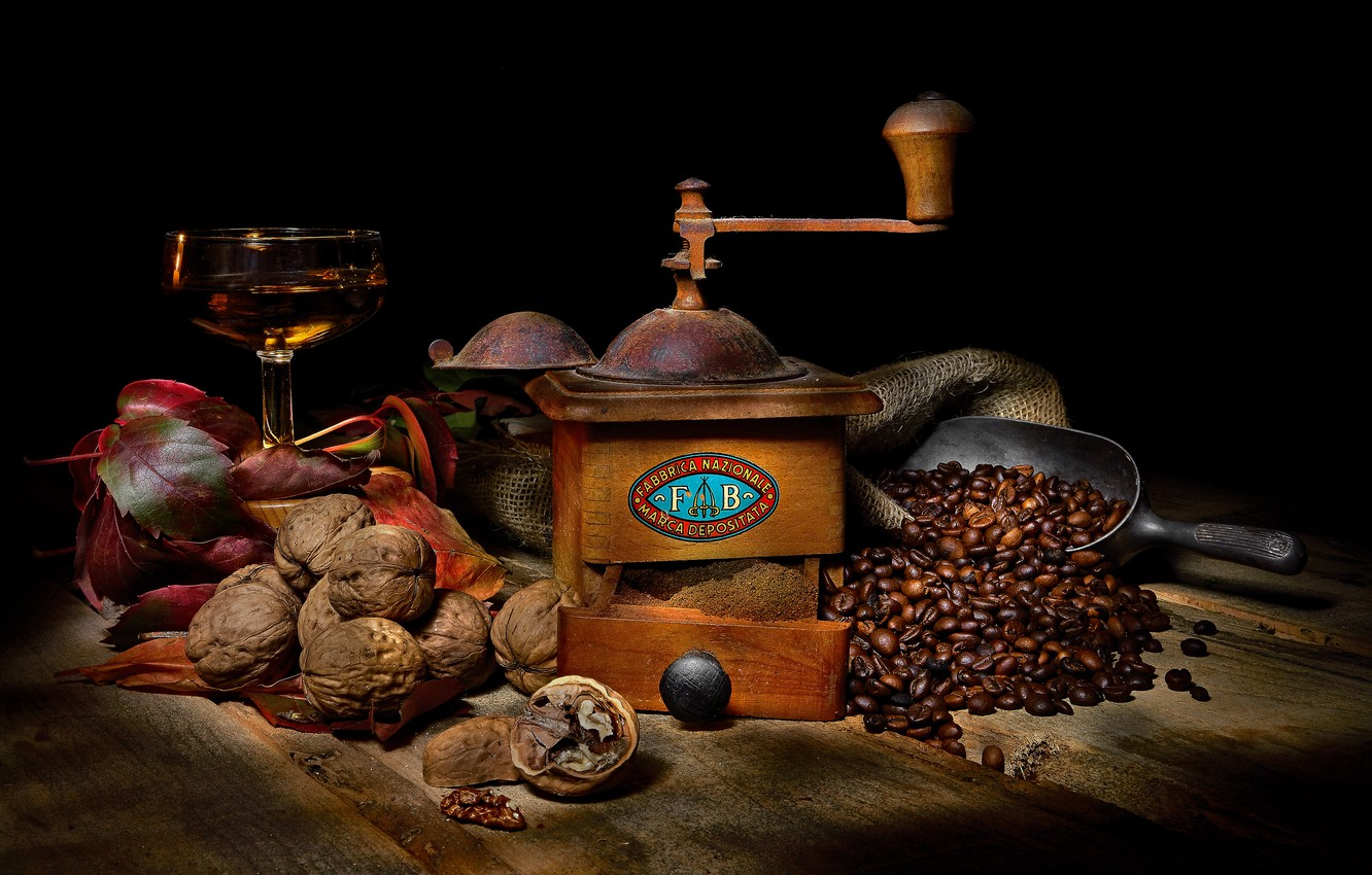 Photo wallpaper wine, glass, coffee, food, black background, nuts, still life, items, coffee beans, composition, walnut, coffee …