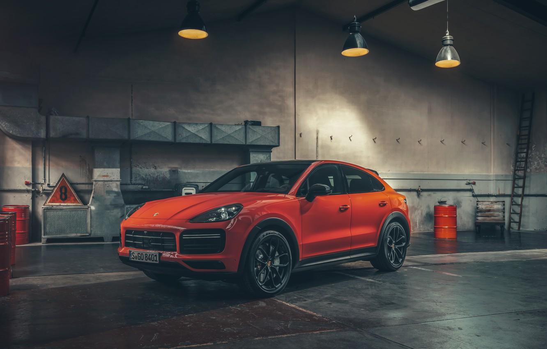 Photo wallpaper Porsche, Orange, Coupe, Front, Cut, Cayenne Turbo