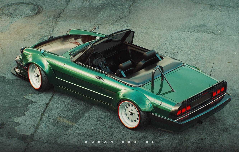 Photo wallpaper Green, Machine, Alfa Romeo, Car, Render, Rendering, Green, Transport & Vehicles, by Sugar Chow, Sugar …