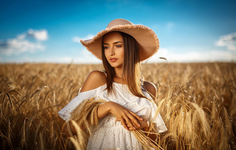 Photo wallpaper field, summer, the sky, look, girl, nature, style, white, model, hat, makeup, dress, girl, hair …