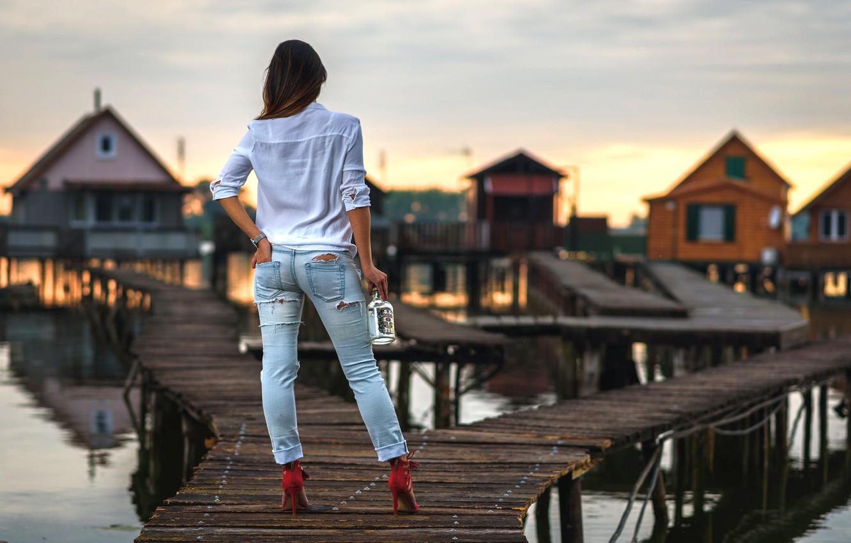 Photo wallpaper ass, girl, sexy, bottle, jeans, legs, the bridge, figure, bokeh