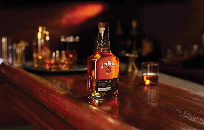 Photo wallpaper glass, bottle, the evening, bar, whiskey, Jim Beam