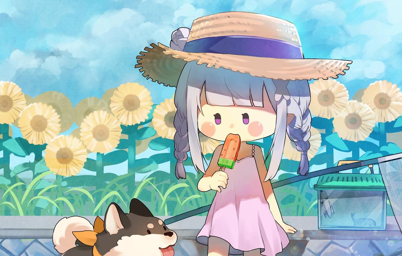 Photo wallpaper flowers, girl, dog