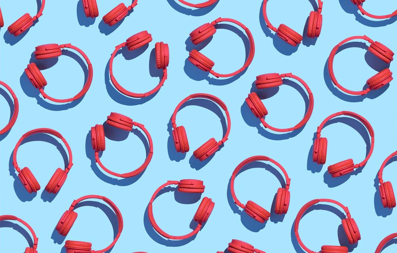 Photo wallpaper red, background, blue, headphones, pattern