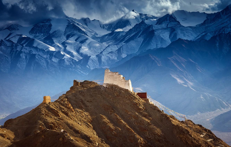 Photo wallpaper mountains, Tibet, Castle of Tsemo