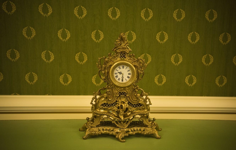 Photo wallpaper retro, watch, vintage, green Wallpaper, Baroque, expensive rich