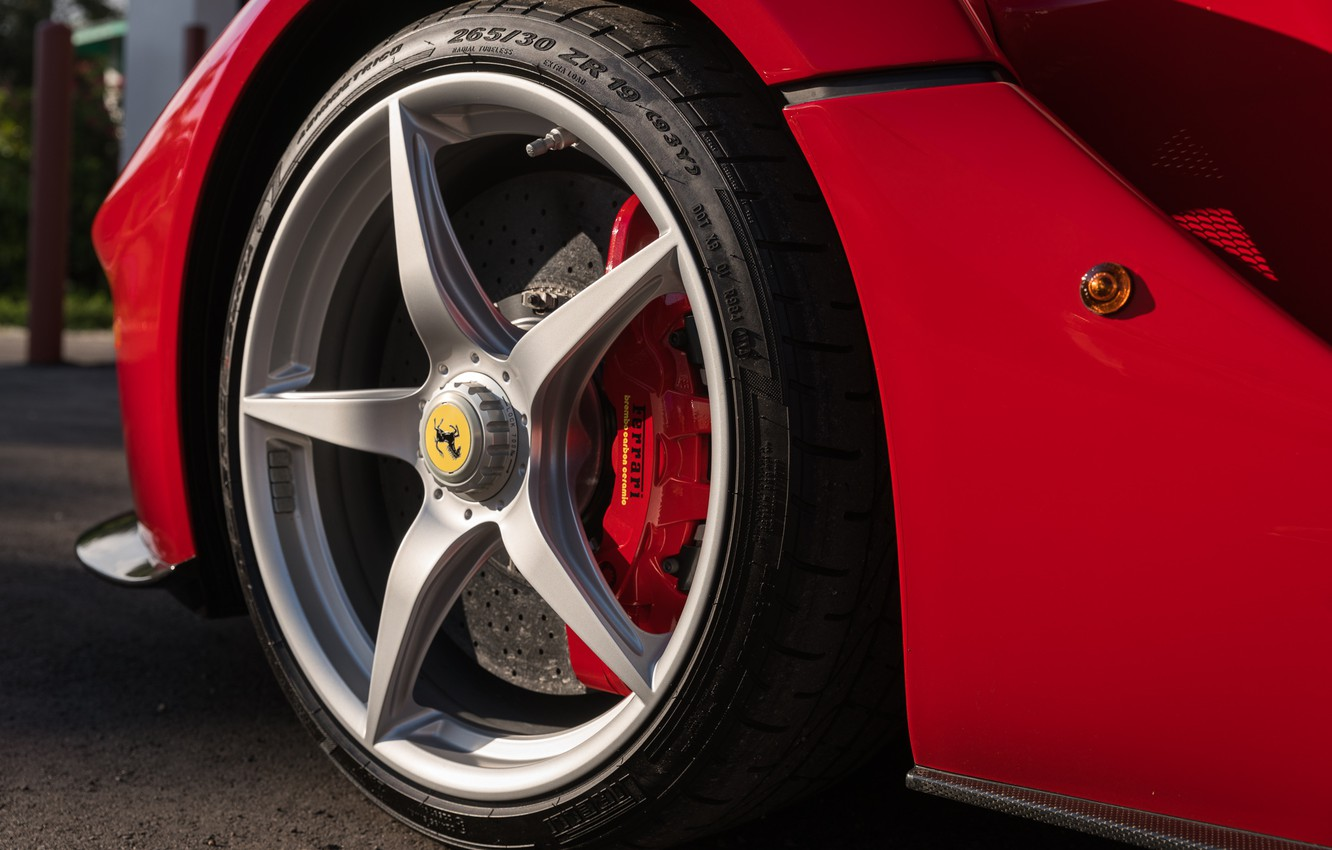 Photo wallpaper Wheel, Logo, LaFerrari, 2015, Brake, Horse