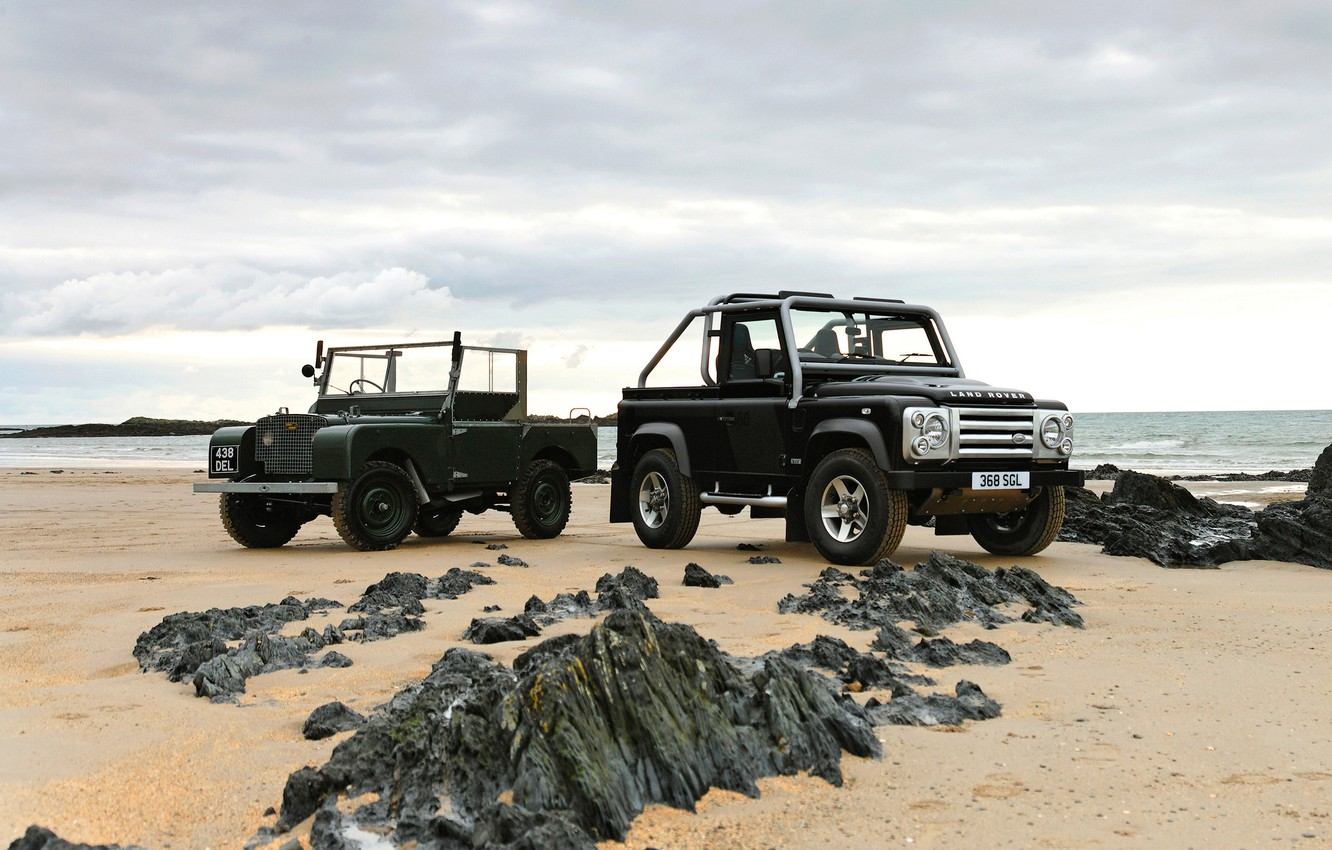 Photo wallpaper 2008, Land Rover, on the shore, 1948, Defender, Series I, SVX, 60th Anniversary Edition