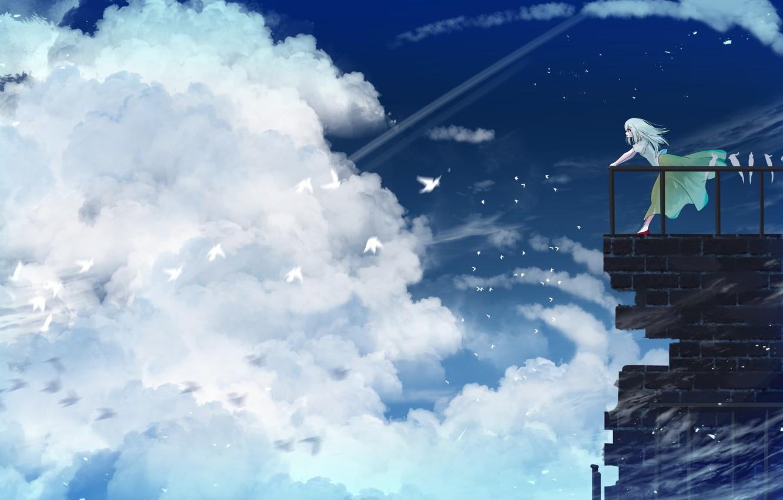 Photo wallpaper the sky, girl, clouds, birds, balcony