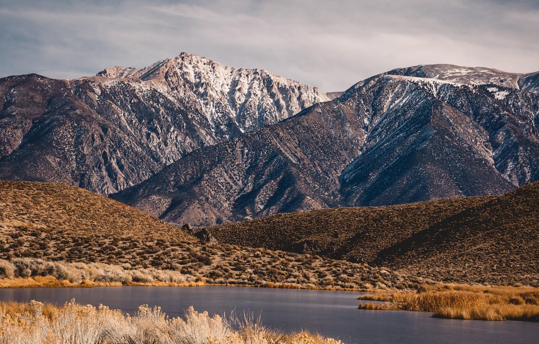 Photo wallpaper landscape, mountains, nature, lake, valley
