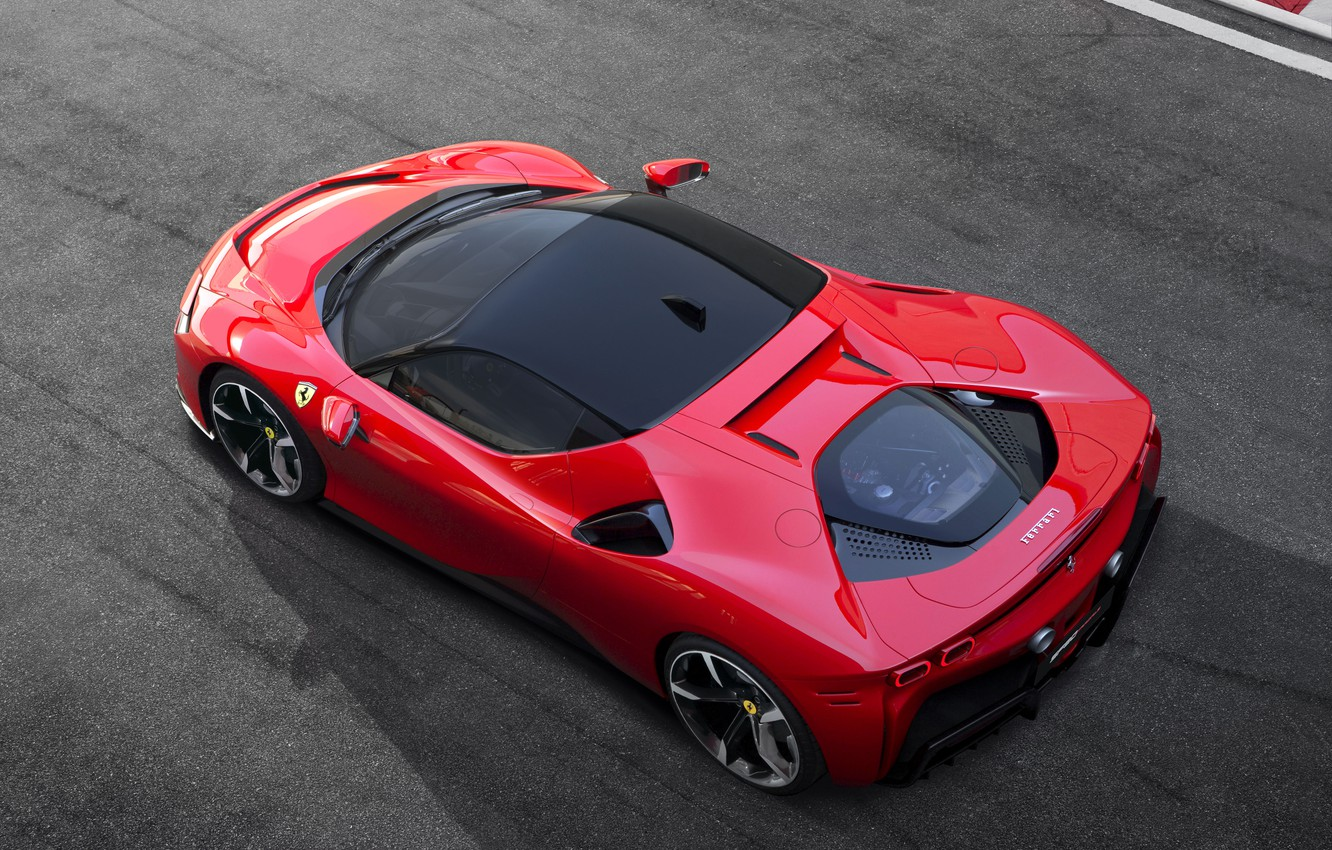 Photo wallpaper Ferrari, sports car, drives, the view from the top, Road, SF90