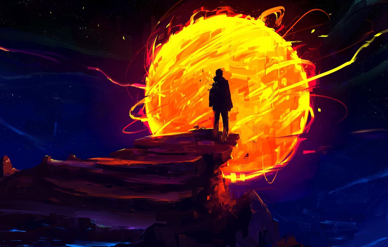 Photo wallpaper fire, night, art, sun, man, digital art, artwork, silhouette, sphere, painting art, Sephiroth Art