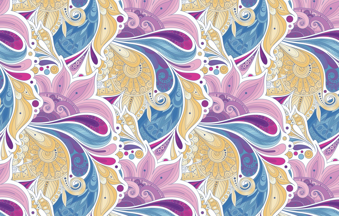 Photo wallpaper flowers, pattern, vector, texture, style, texture, pattern, garden, floral, seamless, Paisley, paisley