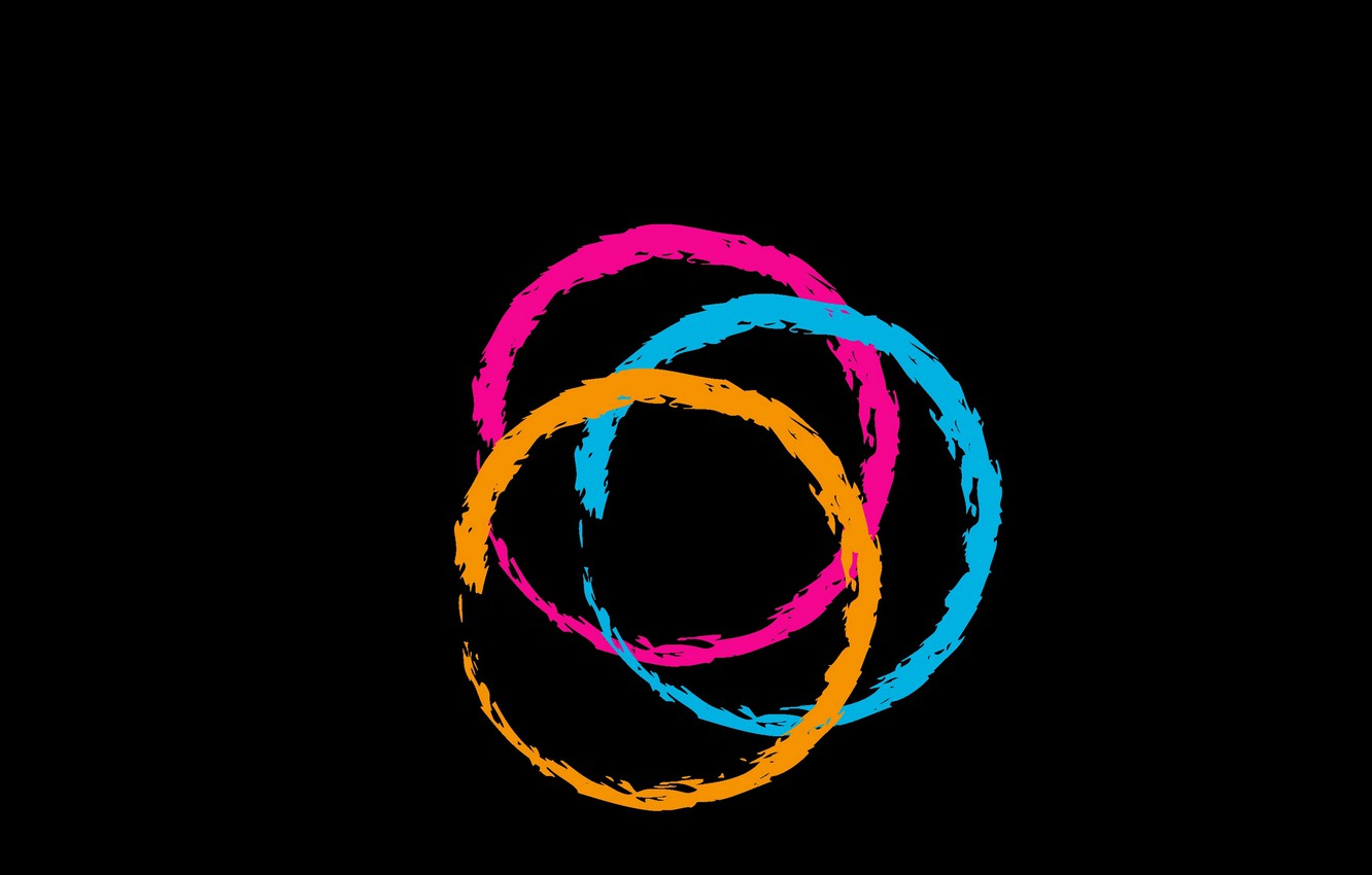 Photo wallpaper circles, background, black, colored, black, circles, colored, backgroud
