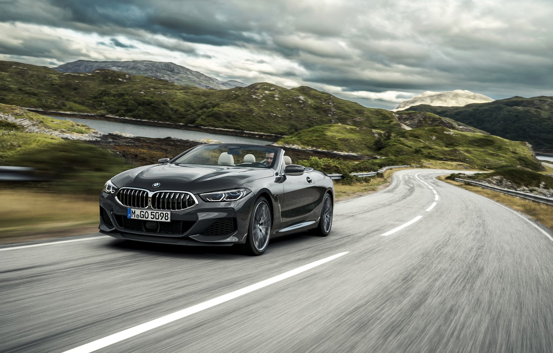 Photo wallpaper hills, speed, BMW, convertible, xDrive, G14, 8-series, 2019, Eight, M850i Convertible
