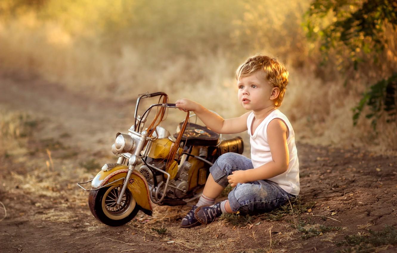 Photo wallpaper toy, boy, baby, motorcycle, child, Irina Zuboreva