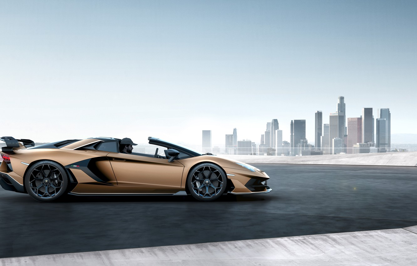 Photo wallpaper machine, the sky, the city, building, Lamborghini, spoiler, sports car, drives, roadster, Aventador, SVJ