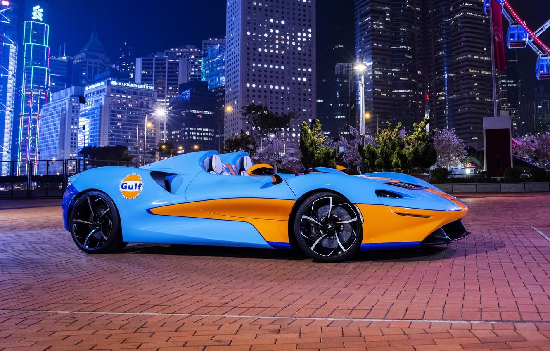 Photo wallpaper lights, McLaren, night city, Elva, 2021, McLaren Elva, Gulf Theme