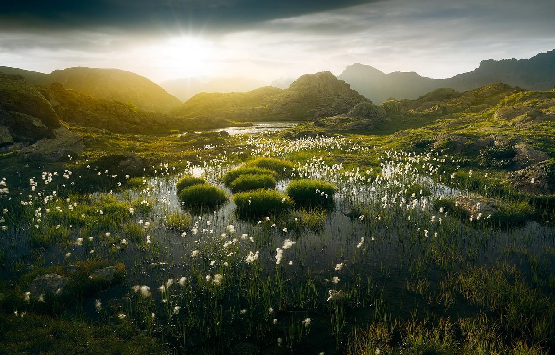 Photo wallpaper mountains, nature, morning